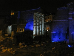 The remains of the ancient Forum Site at night