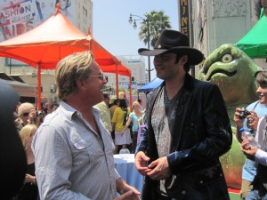 Actor Don Johnson chatting up his buddy, director Robert Rodriguez