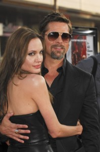"Angelina Jolie and Brad Pitt at the Hollywood premiere of ""Inglourious Basterds"""