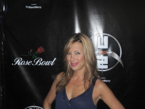 Red Carpet Roxy in front of the step and repeat at the U2 360 show at the Rose Bowl in Pasadena