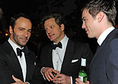 "Director Tom Ford, stars Colin Firth, and Nicholas Hault from ""A Single Man"" photo: wire image"