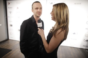 Aaron Paul being interviewed by Red Carpet Roxy at HAVEN360 photo: Gary He