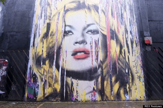 The kate moss mural red carpet roxy for Mural by mr brainwash