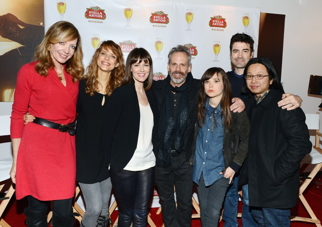 """Allison Janney, Lynn Shelton, Rosemarie DeWitt, Josh Pais, Ellen Page, Ron Livingston and Tomo Nakayama attend the Stella Artois press junket for Sundance Film """"Touchy Feely"""" at Village at the Lift  on January 19, 2013 in Park City, Utah.  (Photo by Andrew H. Walker/Getty Images for Stella Artois)"""