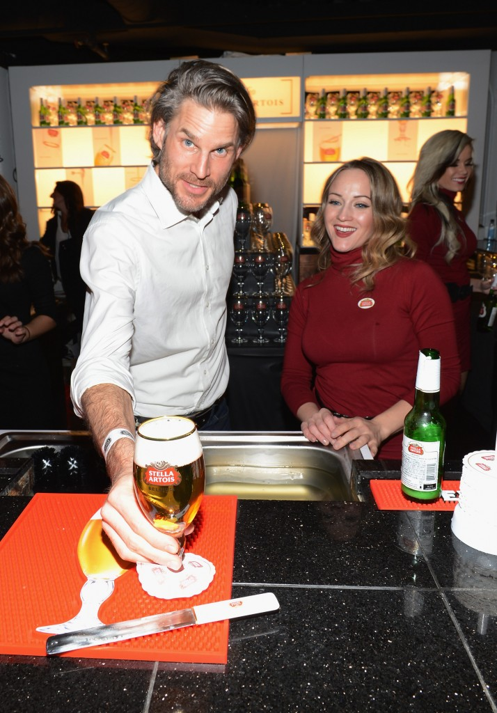 Noah Huntley and guest attend the Stella Artois Timeless Beauty launch party at Studio Stella Artois at Village at the LiftPhoto credit: Andrew Walker / WireImage