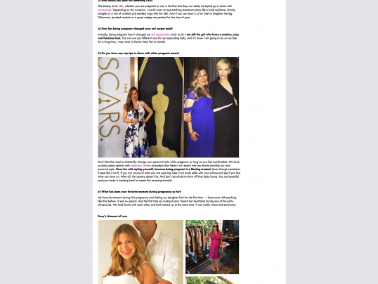 RED CARPET ROXY FEATURED ON SERAPHINE MATERNITY BLOG