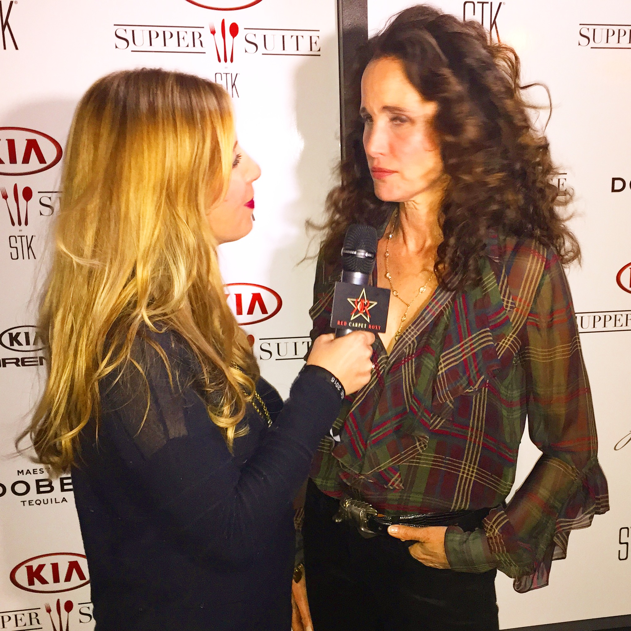 Chatting with Andie MacDowell at the KIA Supper Suite by STK during Sundance 2015