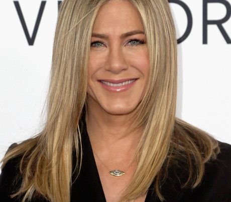 JENNIFER ANISTON IN ANTHONY VACCARELLO + BLACK PUMPS