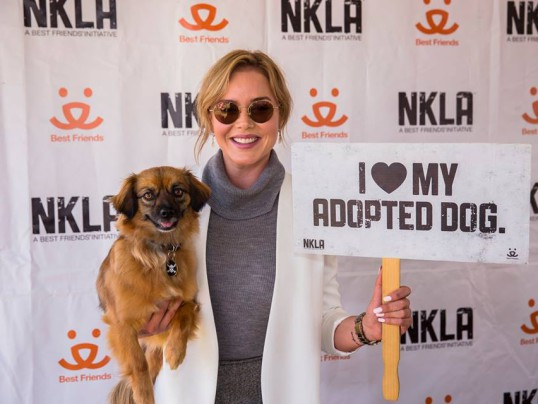 Abbie Cornish and her pup lending their support