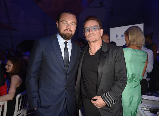 Leonardo DiCaprio at his foundation's eco-gala event in the South of France in 2014. Bono is also pictured.