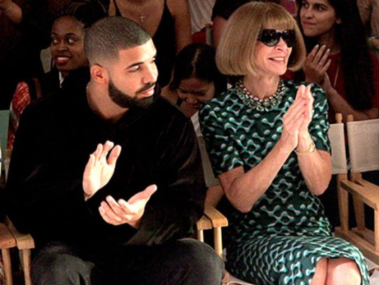Drake and Anna Wintour sitting front row at KIA STYLE360 in September 2015.