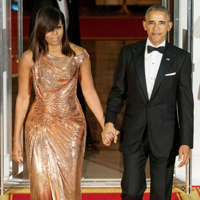 MICHELLE OBAMA IN VERSACE + LE VIAN