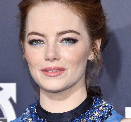 EMMA STONE IN BLUE PRADA + JIMMY CHOO