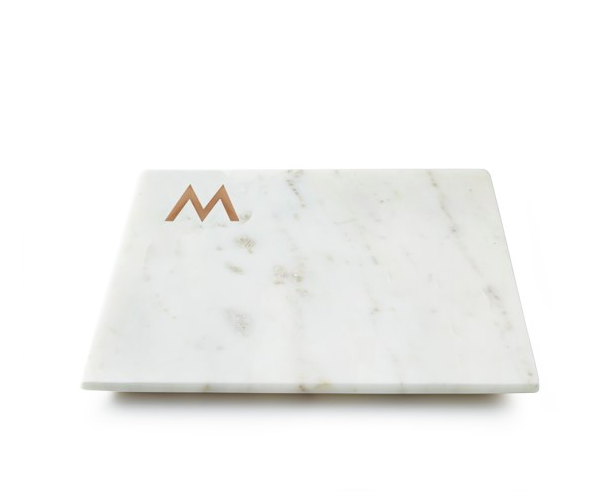 Marble and Copper Monogram Cheese Board