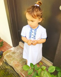 My daughter i her Baby Bespoke D'anjo Trim Ruffle Dress
