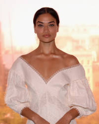 SHANINA SHAIK IN WHITE, LEATHER, AND LACE