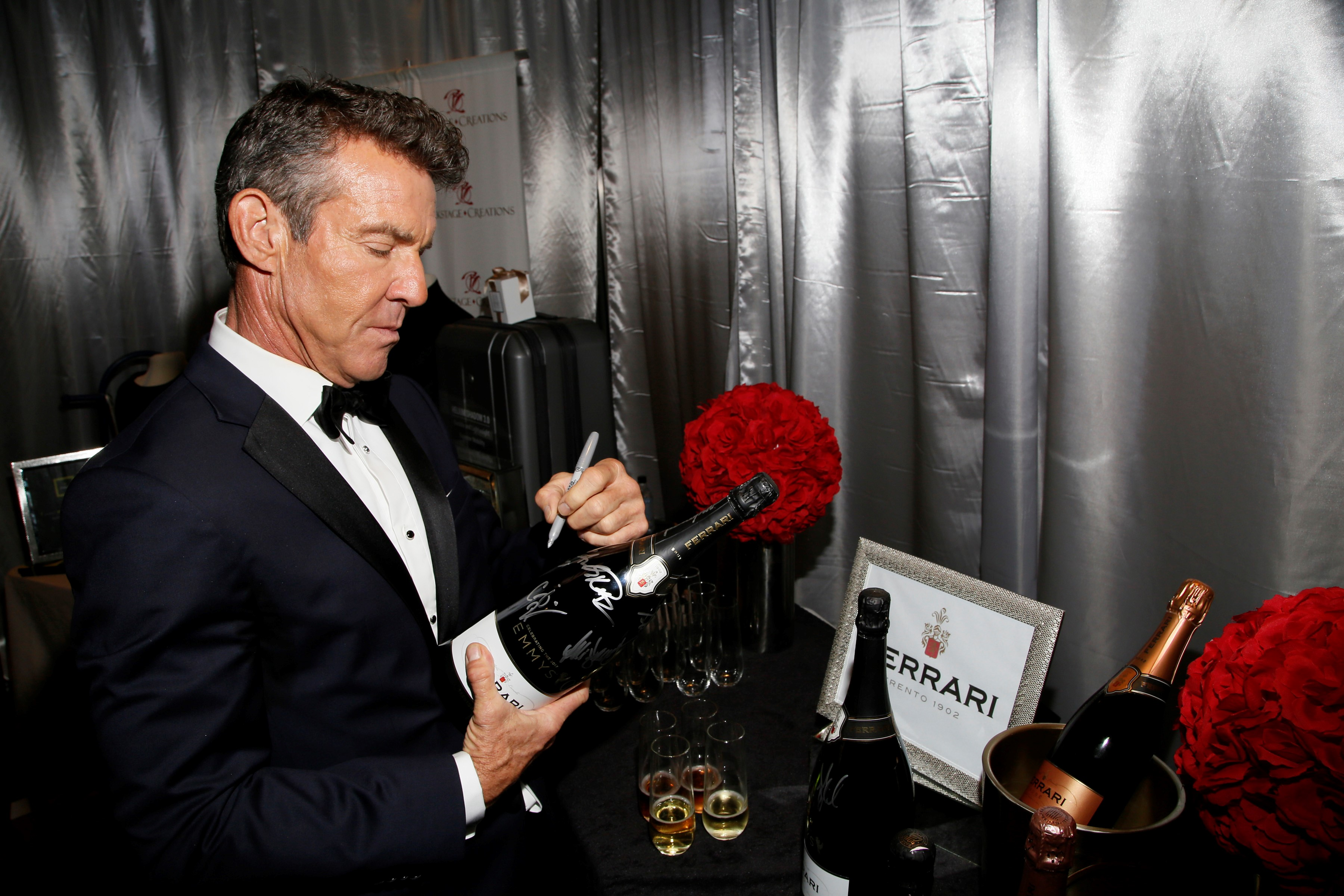 Dennis Quaid at Backstage Creations Giving Suite at the Emmys enjoying Kombucha Cleanse, Exclusive Traveler Club, Izumio, Ferrari Trento, Suzhou Tourism, Wolverine, Canyon Ranch, Delsey Luggage and more in the Josh Johnson Home designed lounge benefitting the Television Academy Foundation