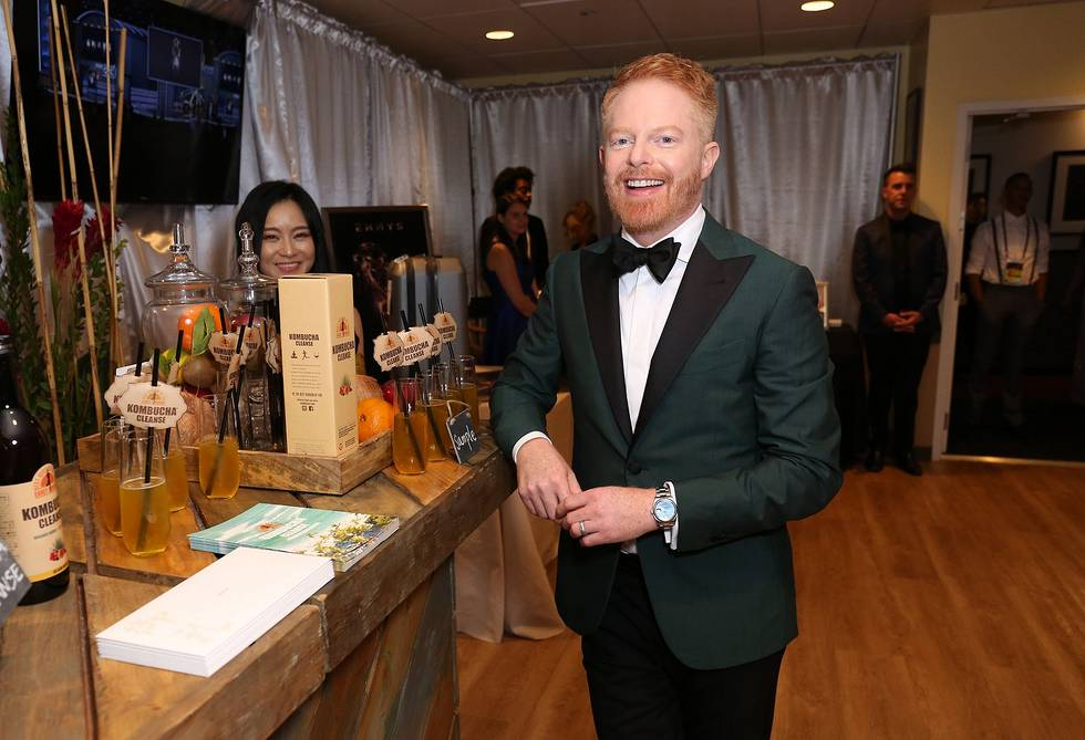 Jesse Tyler Ferguson at Backstage Creations Giving Suite at the Emmys enjoying Kombucha Cleanse, Exclusive Traveler Club, Izumio, Ferrari Trento, Suzhou Tourism, Wolverine, Canyon Ranch, Delsey Luggage and more in the Josh Johnson Home designed lounge benefitting the Television Academy Foundation.