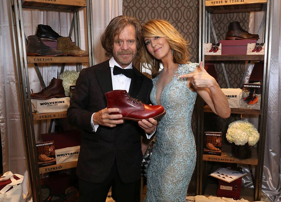 William H. Macy and Felicity Huffman at Backstage Creations Giving Suite at the Emmys enjoying Kombucha Cleanse, Exclusive Traveler Club, Izumio, Ferrari Trento, Suzhou Tourism, Wolverine, Canyon Ranch, Delsey Luggage and more in the Josh Johnson Home designed lounge benefitting the Television Academy Foundation.