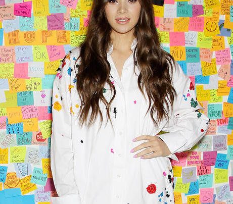 HAILEE STEINFELD IN A COLORFUL SHIRTDRESS