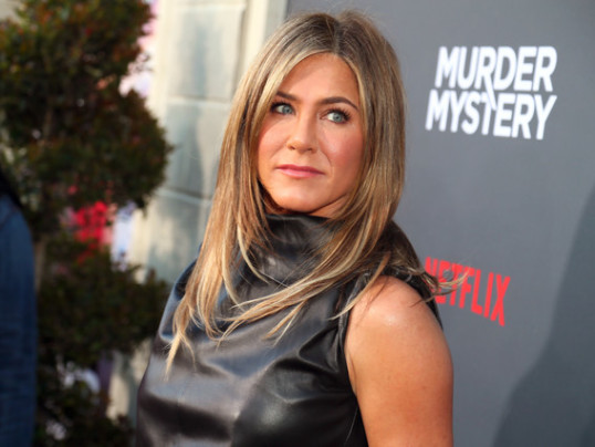 JENNIFER ANISTON IN A LEATHER LBD