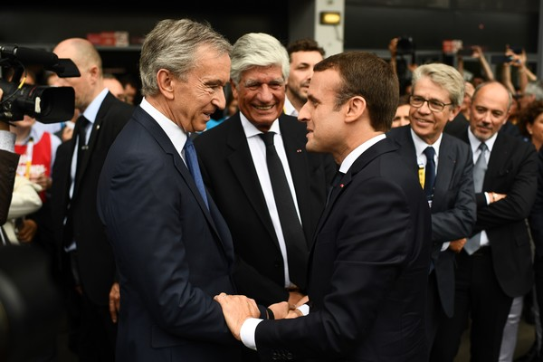 LVMH CEO Bernard Arnault and French President Emanuel Macron