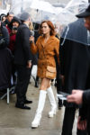 ZOEY DEUTCH IN BROWN + WHITE